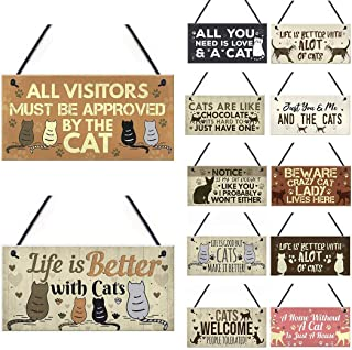 Alisena 1Pack Wooden Lovely Friendship Animal Sign Plaques, Rustic Wall Decor, 10 x 20cm Hand-Stained Hanging Home Decoration Gift