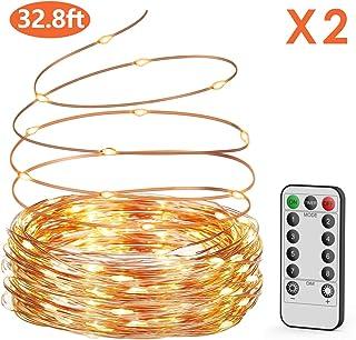 Guirnalda luces pilas【2 * 10M】, OxaOxe 200 LED,
