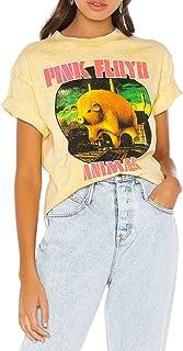 Siennaa T-Shirt Damen Sommer, Teenager Mädchen Rolling Stones Tongue Sport Sommer Shirts Lippen Bite Kiss Druck Kurzarm Casual Tops Frauen Pink Floyd Elegante Oberteile Pullover Hemd