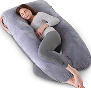 Kingta Pregnancy Pillow U Shaped Full Body Pillow with Washable Velvet Cover - 57 inches Maternity Pillow for Pregnant Women - Support Head, Back, Shoulder, Hips, Legs and Belly (Gray)
