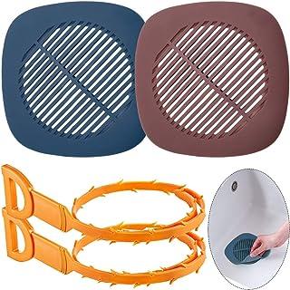 2 Pcs Drain Covers with 2 Pcs Hair Drain Clog Remover, AIFUDA Kitchen Bathroom Hair Catcher Drain Protector Tub Drain Filter