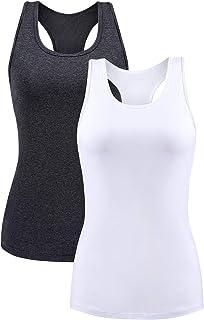 BeautyIn Women's Basic Solid Camisole Adjustable Spaghetti Strap Tank Top 2 Packs