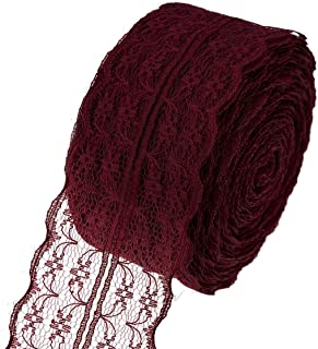 ATRibbons 25 Yards 1-3/4 Inch Wide Floral Pattern Lace Trim Roll Colorful Lace Fabric Ribbon for Sewing Making,Gift Wrapping and Bridal Wedding Decorations (Wine red)