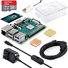 ABOX Raspberry Pi 3 B+ Complete Starter Kit with Pi 3 Model B+ Board, 16GB Micro SD Card Preloaded Noobs, 5V 3A On/Off Power Supply, Clear Case, HDMI Cable, SD Card Reader with USB A&USB C, Heatsinks