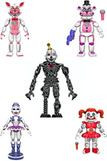 "Funko FNAF Sister Location Articulated Action Figures 5"" Complete Set Gift Set Bundle - Includes Fun Time Freddy, Fun Time Foxy, Ballora, Baby and Ennard"
