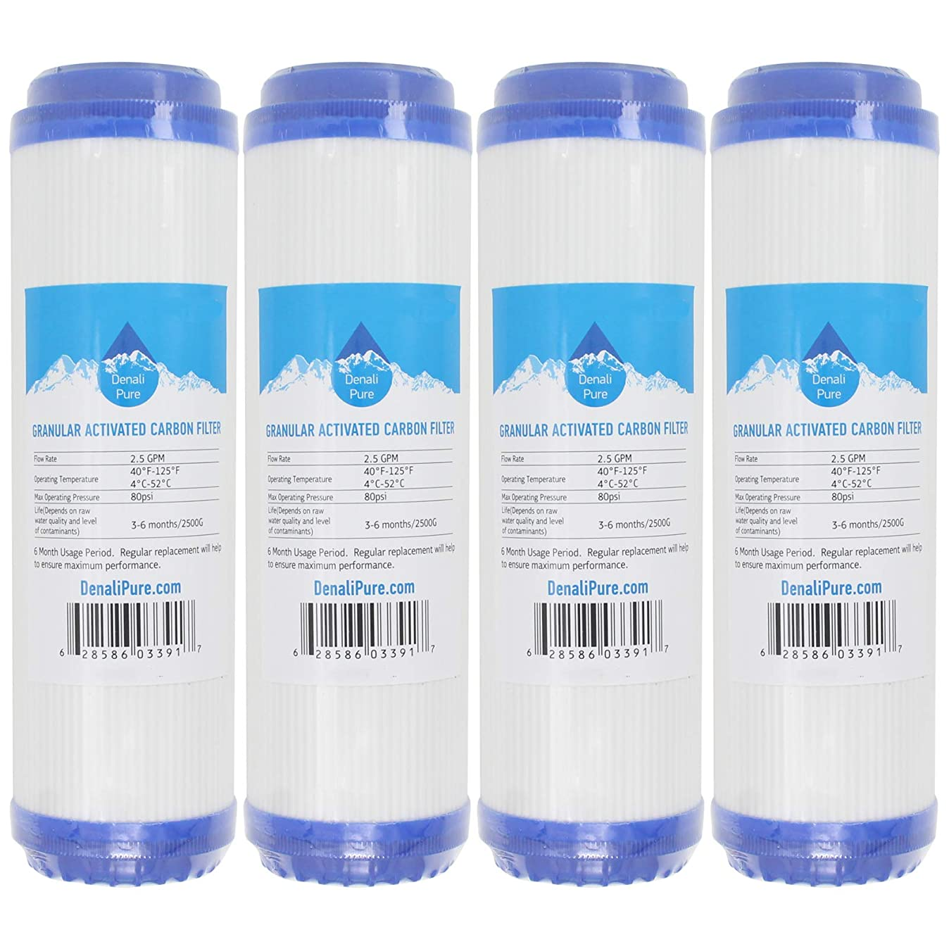 4-Pack Replacement for Compatible with WaterPur CCI10CLW12 Granular Activated Carbon Filter - Universal 10-inch Cartridge Compatible with WaterPur CCI-10-CLW12 Water Filter Housing - Denali Pure Brand j6850005653