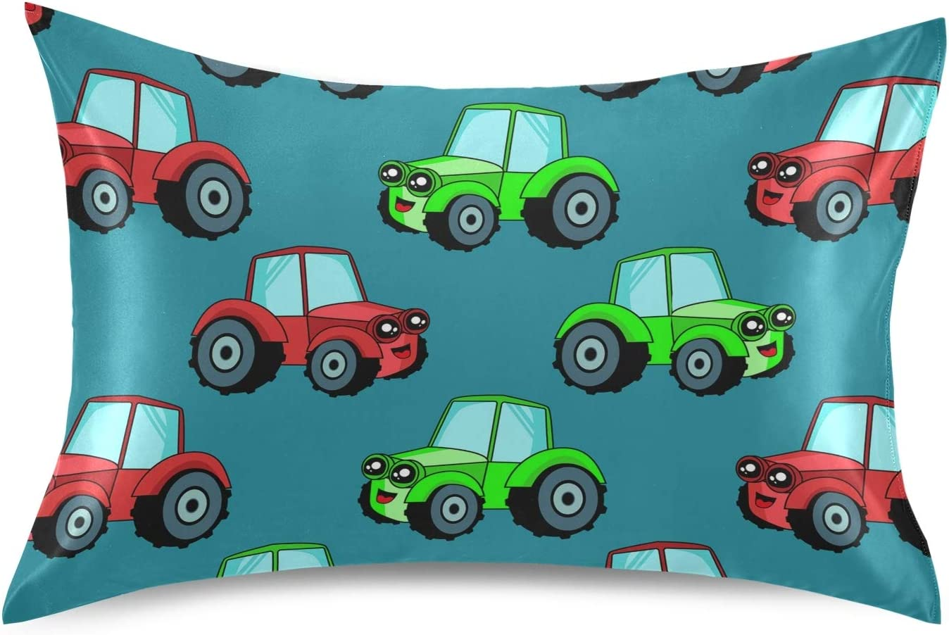 Oyihfvs Kid Childish Cars Tractors in Green Detroit Mall Special sale item Seamless Red S Silky