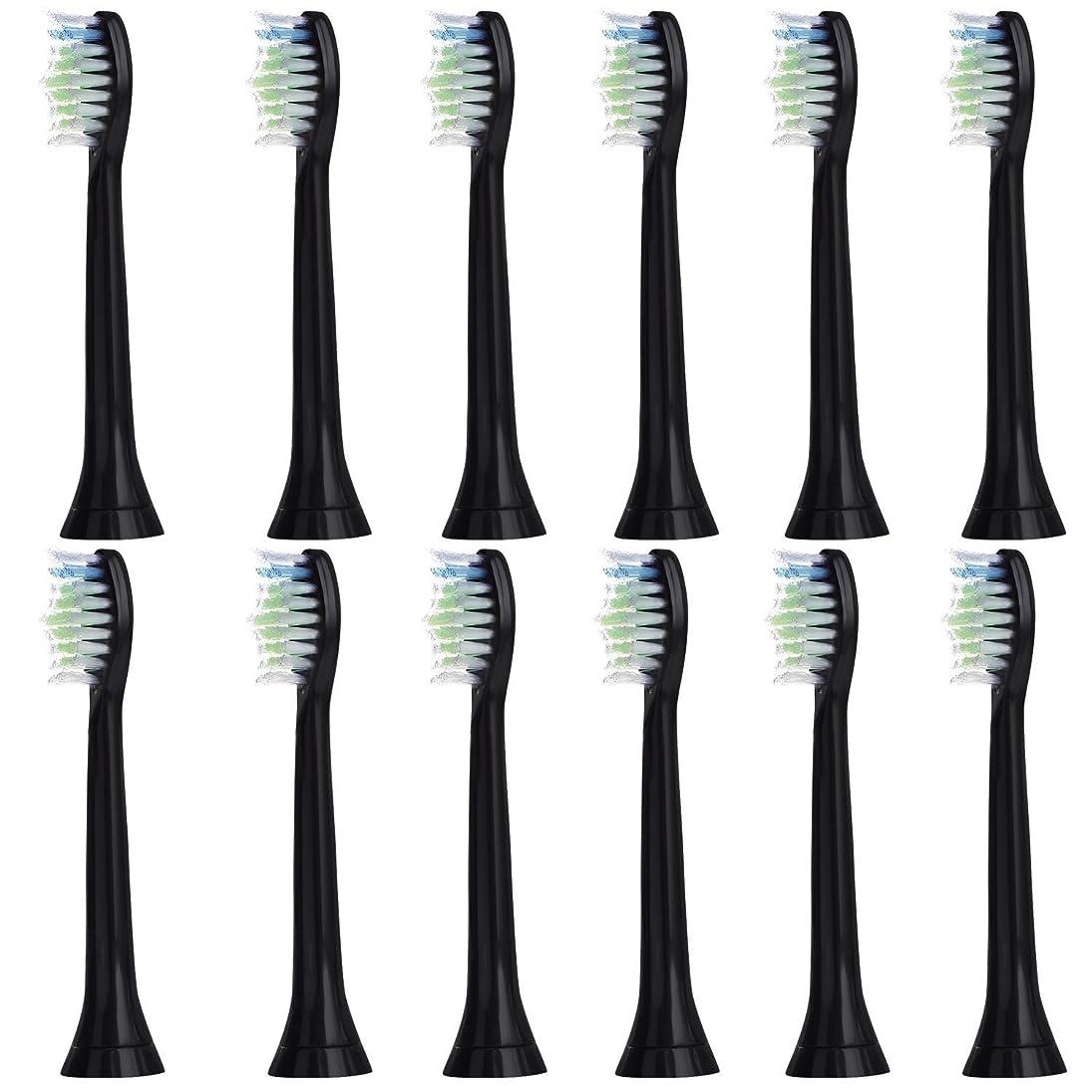 パブ遮る話す12個セット (3x4) E-Cron? Philips ソニッケアーダイヤモンドクリーン ブラック替ブラシ。次のフィリップス電動歯ブラシのモデルとの完全互換性があります: DiamondClean、FlexCare、FlexCare Platinum、 FlexCare(+)、 HealthyWhite、2シリーズ、EasyClean およびPowerUp。
