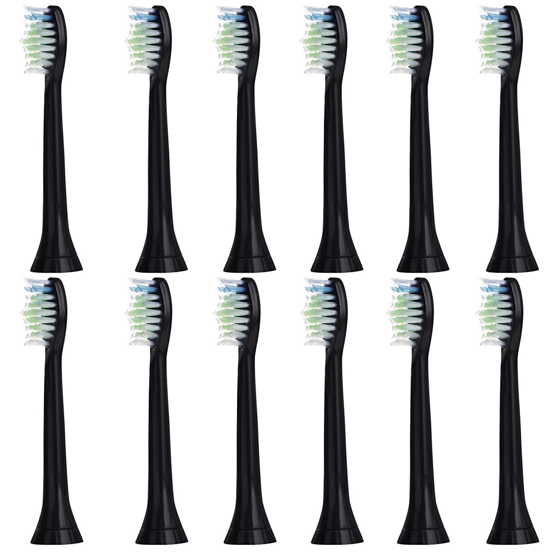 感度チェスをする師匠12個セット (3x4) E-Cron? Philips ソニッケアーダイヤモンドクリーン ブラック替ブラシ。次のフィリップス電動歯ブラシのモデルとの完全互換性があります: DiamondClean、FlexCare、FlexCare Platinum、 FlexCare(+)、 HealthyWhite、2シリーズ、EasyClean およびPowerUp。
