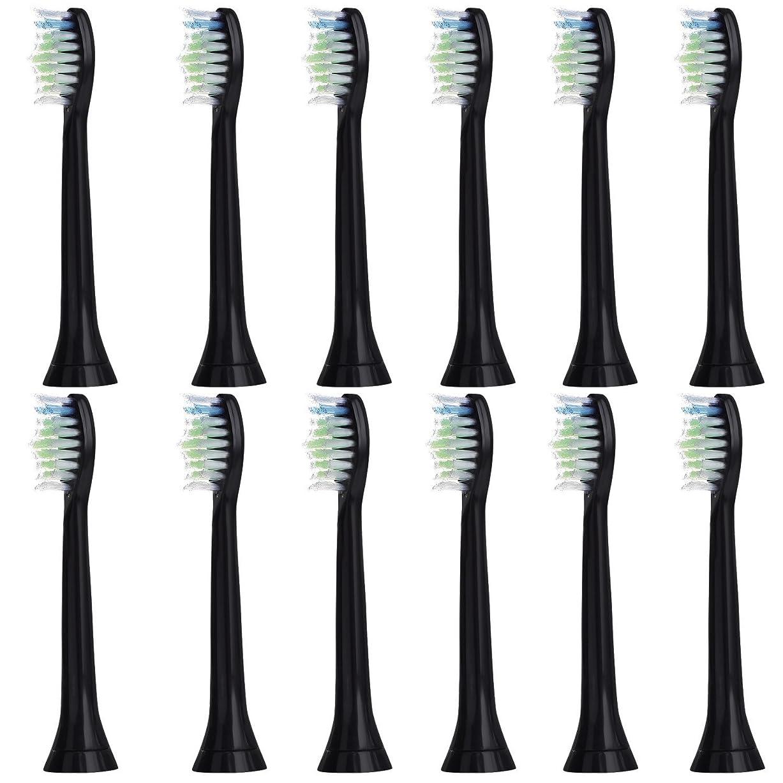 寮毎回通知する12個セット (3x4) E-Cron? Philips ソニッケアーダイヤモンドクリーン ブラック替ブラシ。次のフィリップス電動歯ブラシのモデルとの完全互換性があります: DiamondClean、FlexCare、FlexCare Platinum、 FlexCare(+)、 HealthyWhite、2シリーズ、EasyClean およびPowerUp。