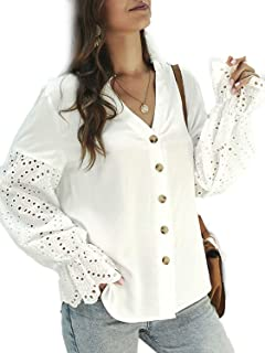 Simplee Women's Flare Sleeve Button Down V Neck Lace Patchwork Elegant Knit Blouse Shirts