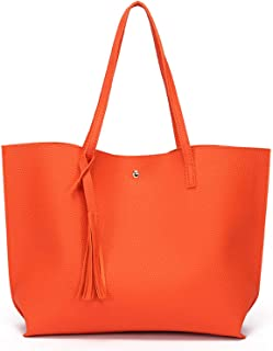 ZZZ Women's Handbag PU Large-capacity Shoulder Bag Messenger Bag PU Leather Shopping Travel Laptop Bag For Ladies Wallet Storage Bag High Capacity fashion (Color : Orange)
