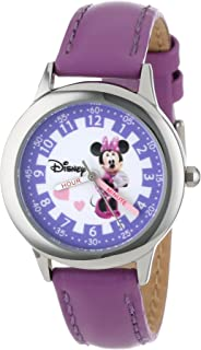 Disney Kids W000039 Minnie Mouse Time Teacher Stainless Steel Watch with Purple Leather Band