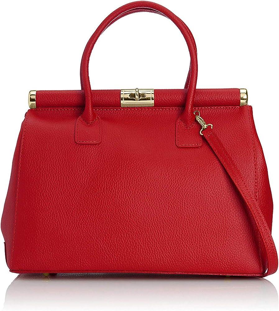 Chicca borse, borsa bauletto da donna, elegante, a mano/tracolla, in pelle 08006-a-rossoChicca Tutto Moda
