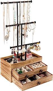 X-cosrack Arbre à bijoux en métal à 3 niveaux avec boîte de rangement en bois - Réglable en hauteur - Pour colliers, boucl...