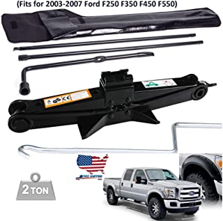 Feidak Spare Tire Tool Kit Tire Lug Wrench Jack Extension for 2003-2007 Ford F250 F350 F450 F550 Replacement Set Repair Tool & 2 Ton (4400lbs) Scissor Lift Jack Heavy Duty with Handle