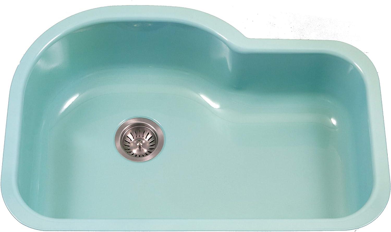 Houzer 超特価 PCH-3700 MT Porcela Series Undermo Enamel 宅配便送料無料 Steel Porcelain