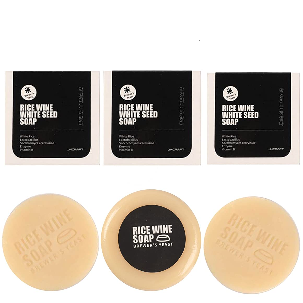 JKCRAFT RICEWINE WHITE SEED SOAP マッコリ酵母石鹸 3pcs [並行輸入品]マッコリ酵母石鹸,無添加,無刺激,天然洗顔石鹸