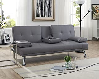 Naomi Home Futon Sofa Bed with Armrest Gray
