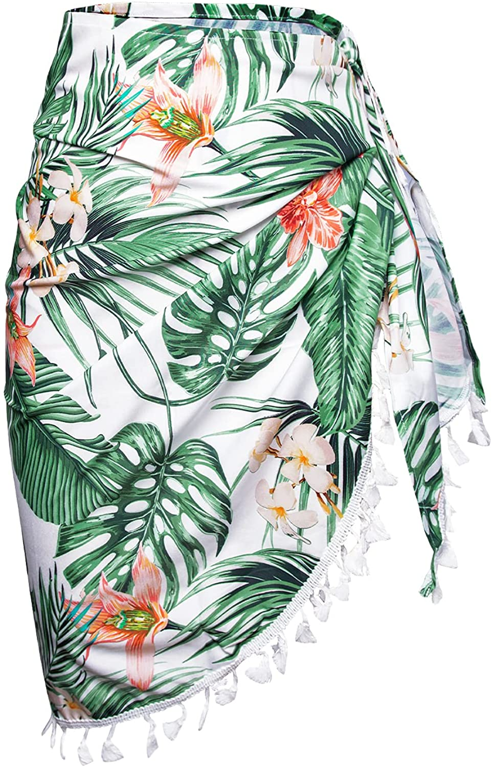 CUPSHE Women's Tummy Control V Neck One Piece Swimsuit Size S Sarongs Tropical Print Tassel Tie Side Cover Up Size S