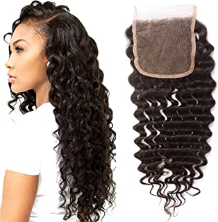 10A Brazilian Deep Wave Lace Closure 100% Virgin Human Hair Sew in Lace Closure Free Part Natural Color (16 Inch)