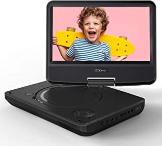 """COOAU 11"""" Portable DVD Player, Support Power Bank Charging, Last Memory Function, Region Free, SD/USB/AV-Out Port with HD Swivel Screen, Black"""