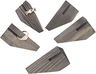 MyGift Rustic Gray Wood Geometric Ring Display Holder, Set of 5