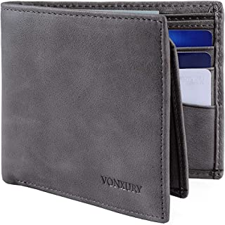 Premium Leather RFID Wallet for Men Bifold Soft Cowhide Leather Wallet with 8 Card Slots and 2 ID windows