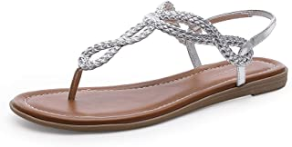 Women's Braided T-strap Thong Slip On Flat Sandals With Elastic Brand Roman Gladiator Fashion Flip Flop Shoes