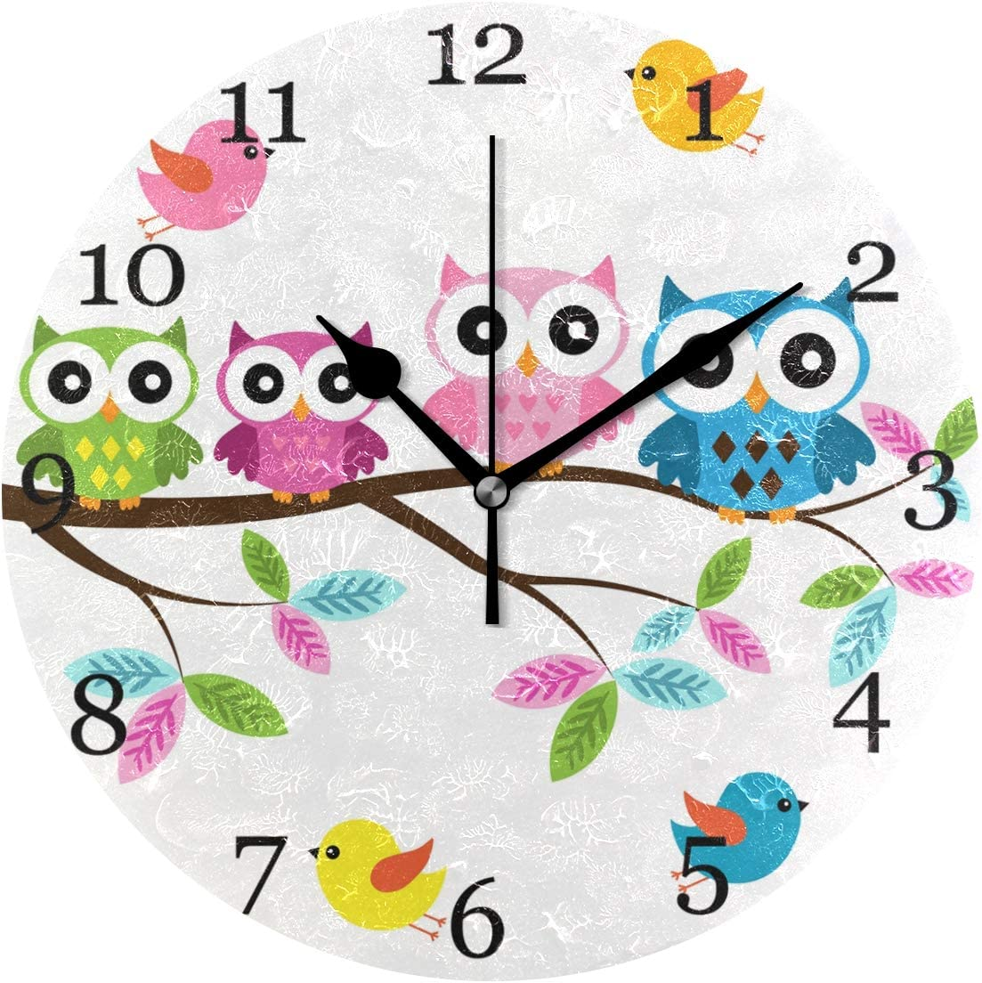 KUWT Cute Owl Wall Clock Silent Non-Ticking, Bird Tree 9.5 Inch Round Wall Clock Battery Operated Owl Clock Decor for Kids Room Home Wall Bathroom Kitchen Bedroom Living Room Office Classroom Patio