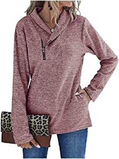 Comaba Women Zip-Front Long-Sleeve Shirt Pure Color Fall Winter T-Shirt