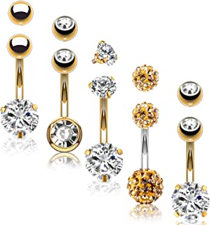 BodyJ4You 5PC Belly Button Rings 14G Stainless Steel CZ Girl Women Navel 5 Replacement Balls Pack