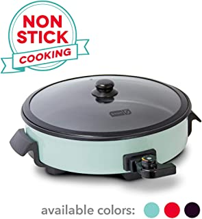 Dash DRG214AQ Family Size Rapid Heat Electric Skillet + Hot Oven Cooker with with 14 inch Nonstick Surface + Recipe Book for Pizza, Burgers, Cookies, Fajitas, Breakfast & More, 20 Cup Capacity, Aqua