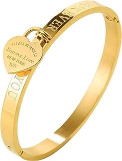 JINHUI ❤Thanksgiving Day Gift Jewelry 18 K Rose Gold/Gold Bangle Bracelet Heart Pendant Forever Love Letters Engraved Bangle Bracelet for Women Size 6.5''