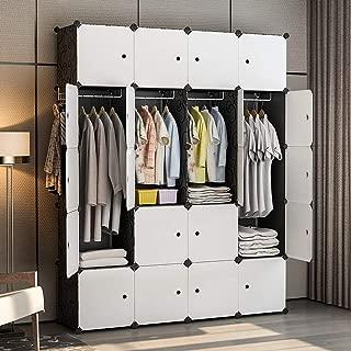 GEORGE&DANIS Portable Wardrobe Closet Plastic Dresser Cube Organizer Storage Carbinet Shelf DIY Furniture, Black, 18 inches Depth, 4x5 Tiers
