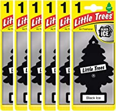Air Freshener - LITTLE TREES 'Tree' - 'Black Ice' Fragrance MTZ04 - For Car And Home - 6 Pack