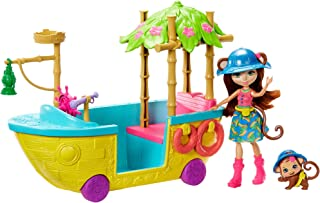 Enchantimals Junglewood Boat & Merit Monkey Doll (6-inch) and Compass Animal Figure, Boat Playset on Wheels with 8+ Accessories [Amazon Exclusive]