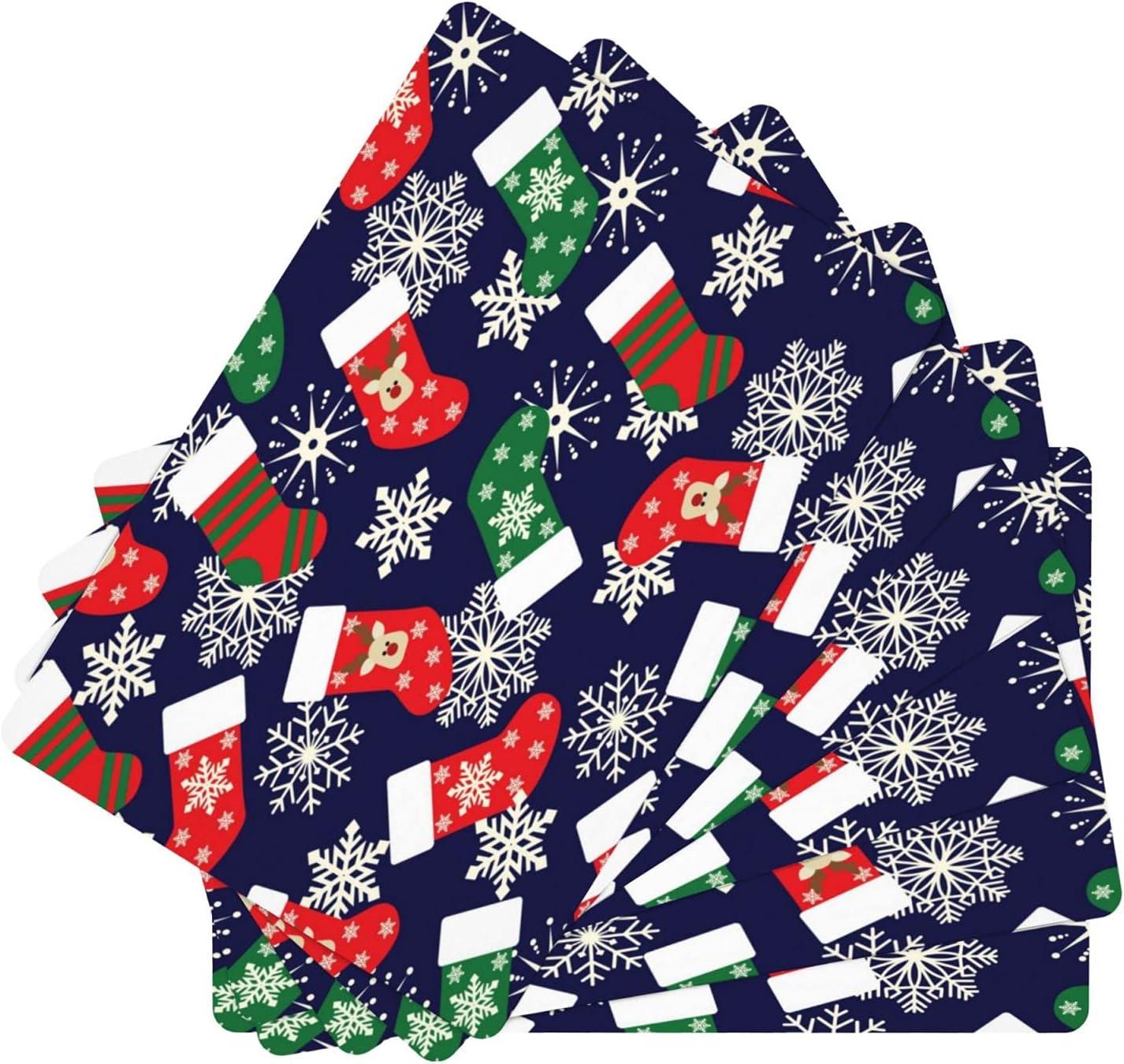Christmas Xmas Snowflake Socks favorite Leather 4 years warranty Table Washa 6 Mats Set of