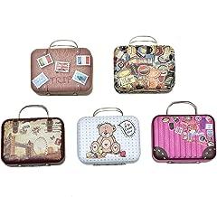 Monrocco 5PCS Mini Small Iron Vintage Cartoon Tin Box Suitcase Handbag Small Rectangular Candy Box Tin Container Jewelry Coin Storage
