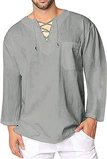 COOFANDY Mens Fashion T Shirt Cotton Tee Hippie Shirts Long Sleeve Beach Yoga Top