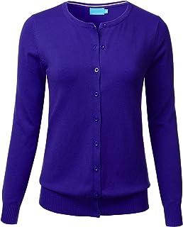 FLORIA Women's Button Down Crew Neck Long Sleeve Soft...