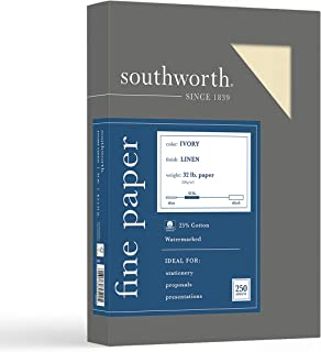 """Southworth 25% Business Paper, 8.5"""" x 11"""", 32 lb/120 gsm, Linen Finish, Ivory, 250 Count - Packaging May Vary (J568C)"""