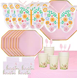 118 Pcs Butterfly Floral Party Supplies Disposable Tableware Serves 16 Butterfly Garden Themed Birthday Party Paper Plates...