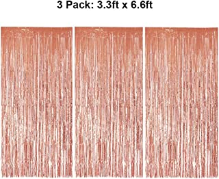 Foil Fringe Curtains Metallic Tinsel Fringe Curtain Photo Booth Backdrop Curtains Decoration For Christmas New Years Eve Birthday Wedding Bachelorette Party Tassel Rose Gold 3 Pack 3.3ft x 6.6ft