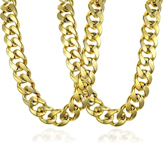 Faux Gold Acrylic Chunky Chain Necklace for Men Women Huge Hip Hop Rapper Turnover Chain Necklace 80s 90s Punk Style Costume Necklace Jewelry