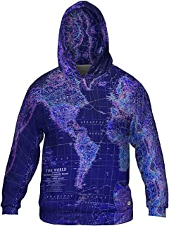 World Map Neon Close -Allover Print - Mens Hoodie Sweater