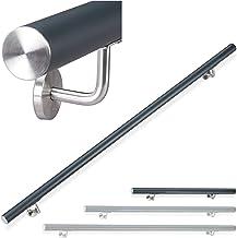 Relaxdays Leuning aluminium, rond, trapleuningen binnen & buiten, mat, 100 cm, Ø 42 mm, met wandhouder, antraciet