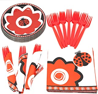 Ladybug Value Party Supplies Pack (58+ Pieces for 16 Guests), Value Party Kit, Ladybug Party Plates, Ladybug Birthday, Nap...