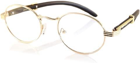 FBL Vintage Oval Clear Lens Metal & Wood Feel Eyeglasses A103