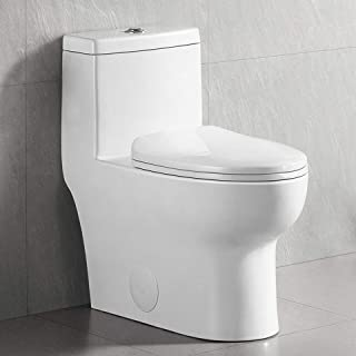 Dual Flush Elongated Standard One Piece Toilet with Comfort Seat Height, Soft Close Seat Cover, High-Efficiency Supply, an...